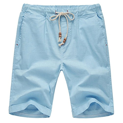 Aiyino Men's Linen Casual Classic Fit Short Summer Beach Shorts X-Large Light Blue ()