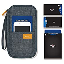 P.travel Passport wallet cover / Travel clutch bag / Credit Card cash organizer / Passport Holder with hand strap (Linen Gray with RFID Stop)