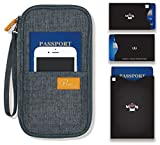 P.travel Passport wallet cover / Travel clutch bag / Credit Card cash organizer / Passport Holder with hand strap (Linene Gray with RFID Stop)