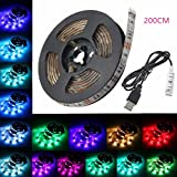 USB LED Strip Light, GLISTENY TV BackLight 15 Leds Multi-Color 5050 RGB Bias Lighting Waterproof 5V Background Lighting Flexible Adhesive Back Tape for Flat Screen TV Desktop PC