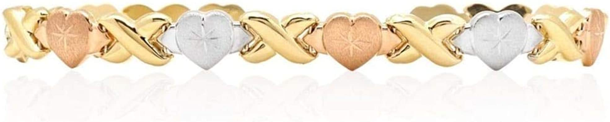 "14k Yellow White Rose Gold Women/'s Hearts /& Beads Charm 8/"" Bracelet"