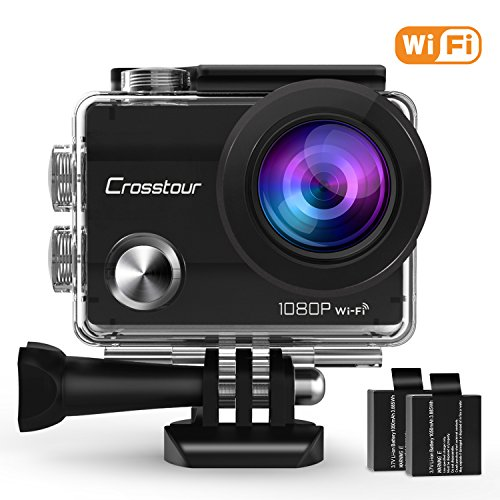 Crosstour Action Camera 1080P Full HD Wi-Fi 12MP Waterproof Cam 2' LCD 30m Underwater 170°Wide-angle Sports Camera with 2 Rechargeable 1050mAh Batteries and Mounting Accessory Kits