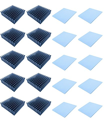 (Easycargo 40x40x11mm Heatsink Kit, Cooler Heat Sink + Silicone Based Thermal Pad (40mmx40mm) (Black 10-Pack))
