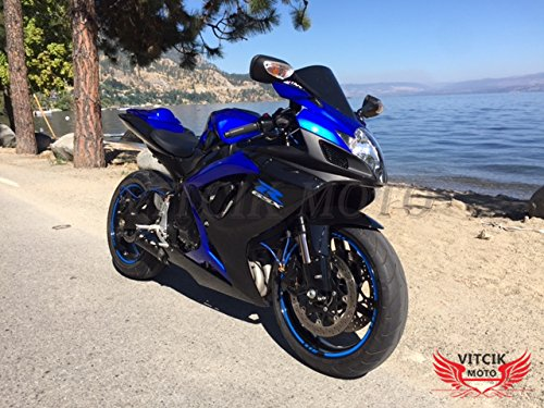 Gsxr750 Fairings (VITCIK (Fairing Kits Fit for Suzuki GSX-R750 GSX-R600 K6 2006 2007 GSXR 600 750 K6 06 07) Plastic ABS Injection Mold Complete Motorcycle Body Aftermarket Bodywork Frame (Blue & Black) A090)