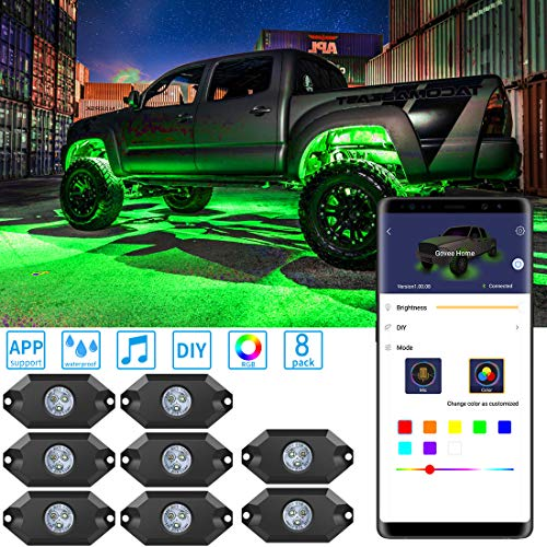 (MINGER RGB LED Rock Lights, 8 Pods App Control Neon Lighting Kit, Waterproof Music Rock Lights, Car Underglow Rock Lights for JEEP Off Road Truck Car ATV SUV Motorcycle)