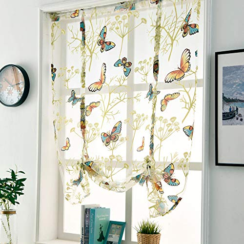 Gotian Beauty Roman Curtain Short Sheer Tie Up Window Balloon Shade Sheer Voile - Cafe, Balcony, Living Room, Bathroom, Bedroom, Kitchen- Valances, Butterfly, Room Deco (Rod Pocket) (L)