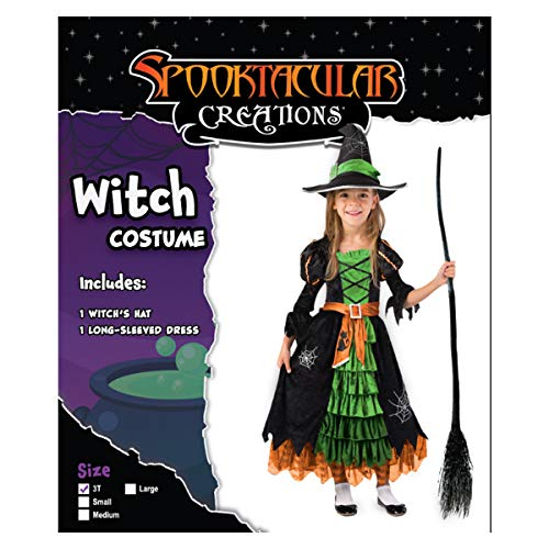 Fairytale Green Cute Witch Dress Halloween Costume Deluxe Set with Hat for Girls (S) - http://coolthings.us