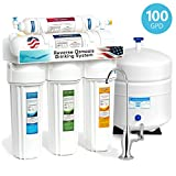 Express Water 5 Stage Home Drinking Reverse Osmosis Water Filtration System 100 GPD RO Membrane Filter Deluxe Chrome Faucet - Ultra Safe Residential Under Sink Water Purification - One Year Warranty