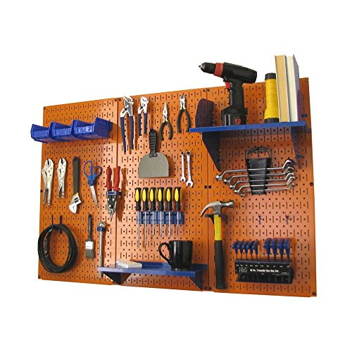 - Pegboard Organizer Wall Control 4 ft. Metal Pegboard Standard Tool Storage Kit with Orange Toolboard and Blue Accessories