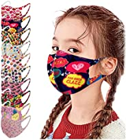 10 Pack Kids Washable Reusable Face_Masks Breathable Comfort Fabric Skincare Face_Protection for Boys Girls Sc
