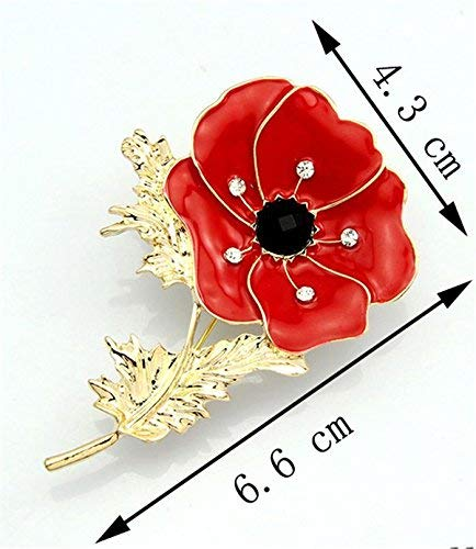 (Sumanee Vintage Womens Poppy Brooch Pin Banquet Crystal Badge Gold Flower Jewelry Gift)