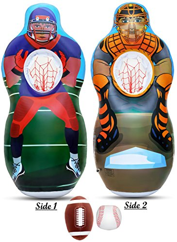 Inflatable Two Sided Football & Baseball Target Set - Includes One Inflatable 5 Foot Tall Target (Football Player on one side and Baseball Catcher on 2nd Side), a Soft Mini - Players Ball Soft