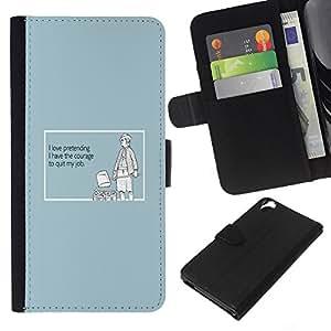 Be-Star la tarjeta de Cr¨¦dito Slots PU Funda de cuero Monedero caso cubierta de piel Para HTC Desire 820 ( Fingendo sincerit¨¤ Coraggio Lavoro Citazione )