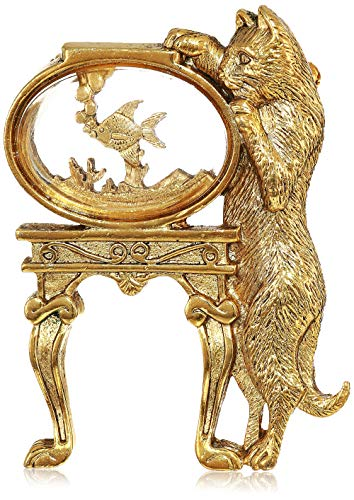 1928 Jewelry Women's 14k Gold-Dipped Crystal Cat and Fish Bowl Pin, Gold, One Size, Gold