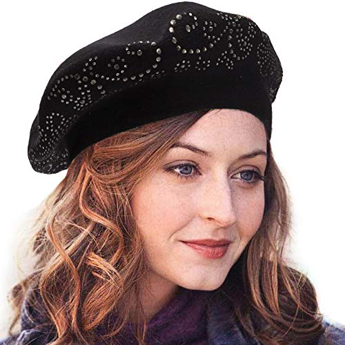 Beret Hats for Women Top Rhinestones Double Layers Wool Winter Berets Knitted Hats for Women Caps (Black)