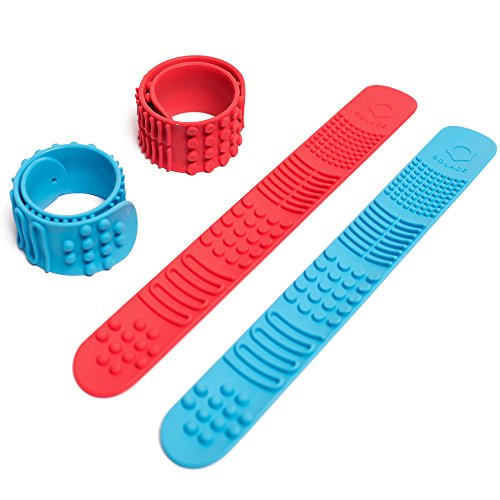 Sensory Slap Fidget Bracelet Bands - 2-Pack - Quiet Tactile Stimulation for ADHD, Autism, Special Needs Kids - Helps Girls & Boys with Stimming Fidgeting and Focus - by Solace (Red & Blue) ()