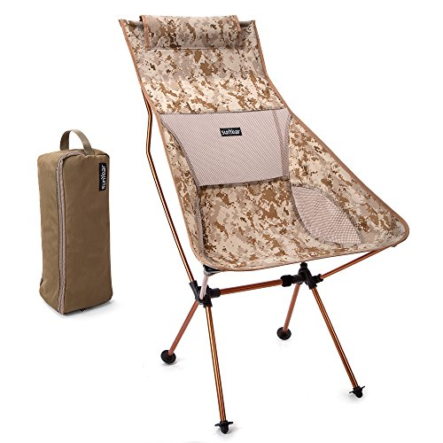 Innovative Foldable Camp Chair, Stuck-slip-proof Feet, High Back, Headrest, Super Comfort Ultra light Heavy Duty, Perfect for the Backpacking/Hiking/Fishing/Beach/Sport (Camo)