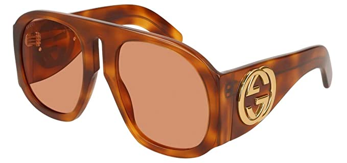 3e88e2ae558 Image Unavailable. Image not available for. Color  Gucci GG0152S Sunglasses  005 Havana   Yellow Lens 57 mm