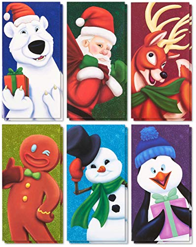 (36-Pack Merry Christmas Greeting Cards - Xmas Money and Gift Card Holder Cards in 6 Christmas Character Designs - Bulk Assorted Winter Holiday Cards Box Set with Envelopes Included, 3.6 x 7.25 Inches)