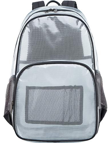 Mygreen Heavy Duty Clear Bookbag Durable Plastic Transparent Clear Backpack for School Work Boy Men (Gray, Large)