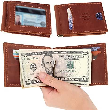 Rachiba Leather Bifold Mens Money Clip Wallet Thin Minimalist Front Pocket