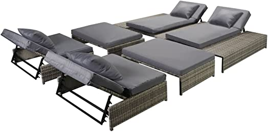 Festnight 5 Piece Outdoor Patio Chaise Lounge Set Pool Sun Lounger Poly Rattan Gray