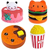 UPSTORE Jumbo Squishies Slow Rising Pack of 4 - Bear Cake,Hamburger Bread,Chocolate Cookie and Popcorn Kawaii Soft Food Squishy Toys Stress Relief Squishys Great Sensory Toys for Kids