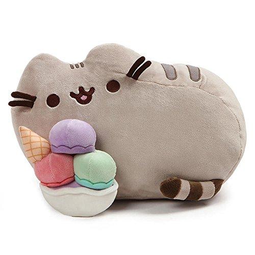 (GUND Pusheen Snackables Sundae Cat Plush Stuffed Animal, Gray, 12