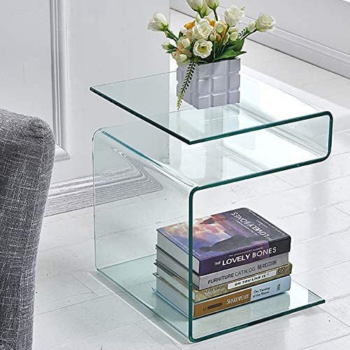 Glass Nightstand,Side Table,S-Shaped End Table