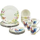 Paula Deen 16 Piece Stoneware Dinnerware Set, Garden Rooster
