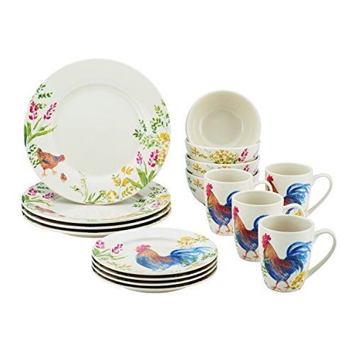 Paula Deen 16 Piece Stoneware Dinnerware Set, Garden (Rooster Dishes)