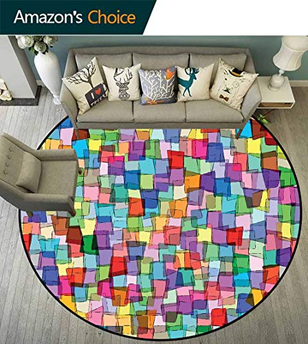 - Abstract Round Rug Solid,Mosaic Inspired Tile Pattern with Colorful Squares Cubes Energetic Artistic Design Durable and Resistant to Soiling,Multicolor,D-43