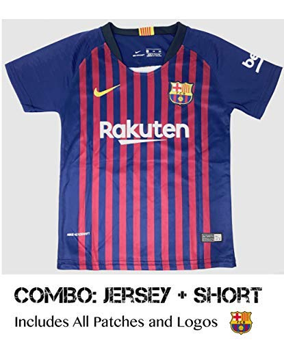 3e9bb783f Barcelona Soccer Jersey Kids on Season 2019 - Barcelona Messi No.10 -  Replica Jersey Kit  Shirt + Short Includes All Patches Logos - Kids Perfect  Combo KIT