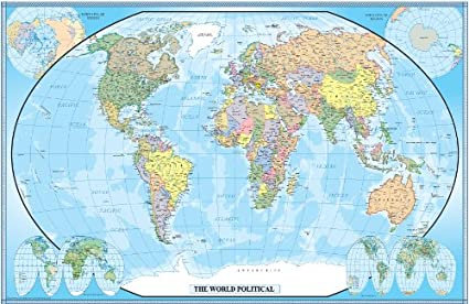 Amazon.com : 24x36 World Classic Wall Map Poster Paper Folded ...