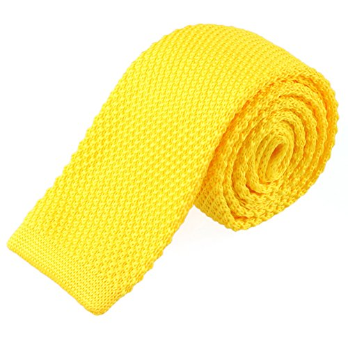 TOPTIE Men's Knit Solid Skinny Tie Polyester Square End 2 Inch Necktie Tie-Yellow