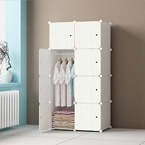 Expandable Adult Childrens Clothes Closet Wardrobe For Bedroom Cupboards Armoire Storage Organizer with Door Stickers, 8Doors 5 Cubes 1 Shelves White(75 x 47 x 147 cm) by Twoworld