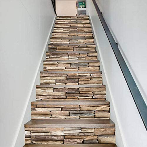 qunxun PVC Creativo Simple Trece Pared De Piedra Escaleras Escaleras Pegatinas Paso Pegatinas De Pared: Amazon.es: Hogar