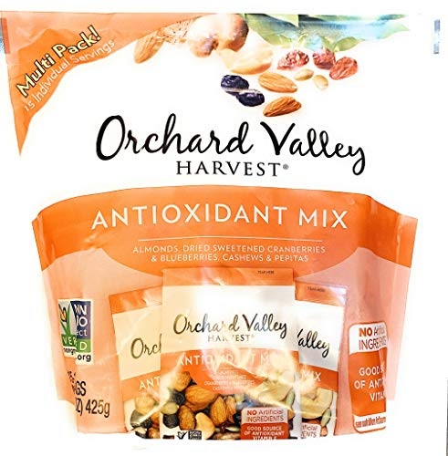 Orchard Valley Harvest antioxidant mix (almonds, dried sweetened cranberries and blueberries, cashews and pepitas) 15 pack, NON-GMO Project Verified, 15 one ounce individual packs