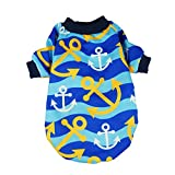 Fitwarm Anchor Dog Shirts for Pet Clothes Cat T-shirts Pullover Blue Large