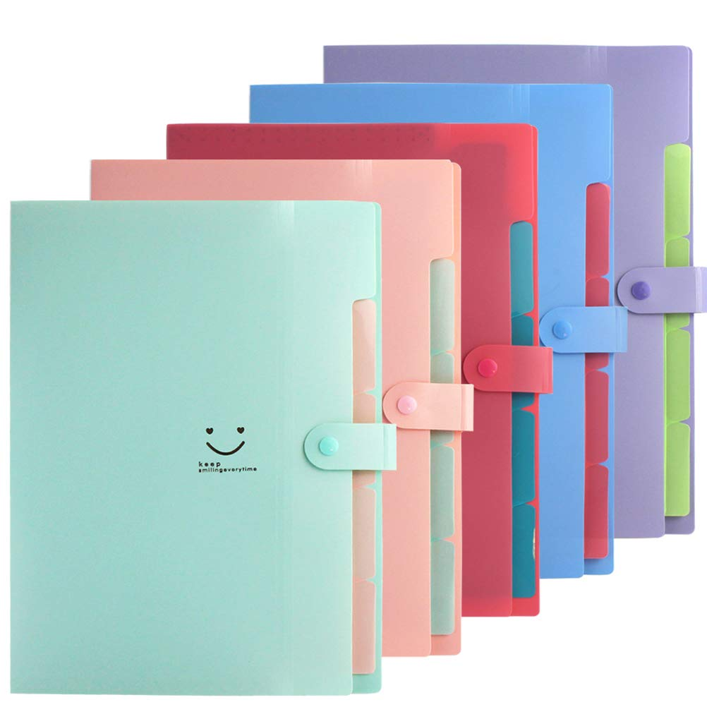 Yolyoo 5pcs Expanding File Folders with 5 Pockets Accordion Document Organizer A4 Letter Size Plastic Organizer for School and Office