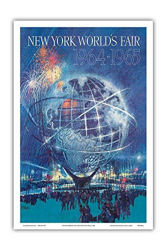 New York World's Fair 1964-1965 - Unisphere Earth Model - Vintage World Travel Poster by Bob Peak c.1964 - Master Art Print - 12in x -