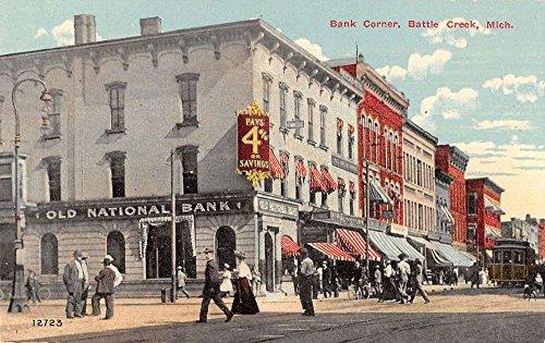 - Battle Creek Michigan Bank Corner Historic Bldgs Antique Postcard K32574