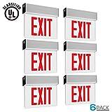 Red LED Exit Sign, UL-Listed Emergency Light, AC 120V/277V, Battery included, Single/Double Face, Ceiling/Side/Back Mount Sign Light, for Hotels, Restaurants, Shopping Malls, Hospitals, Pack of 6