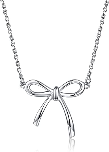 Dainty Bow Gift For Girl Personalized Initial Bow For Women Bow Necklace Silver Bow Necklace Gift Everyday necklace Children Jewelry