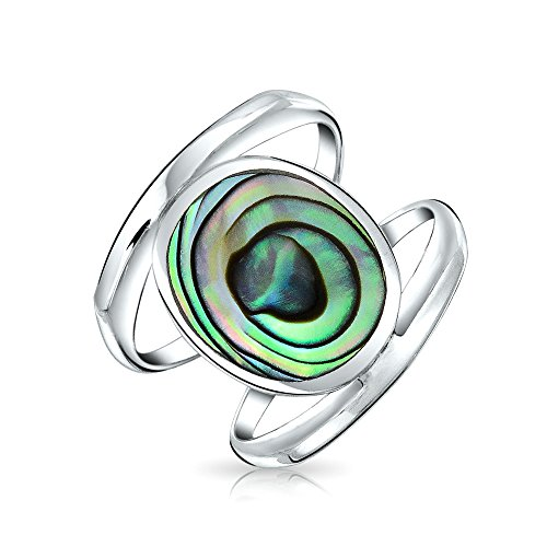 Geometric Boho Oval Rainbow Shell Double Shank Fashion Statement Abalone Ring For Teen Women 925 Sterling Silver
