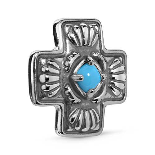 (American West Sterling Silver and Sleeping Beauty Turquoise Cross Pendant - Classics Collection)