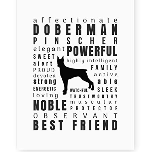 Doberman Pinscher Gifts Wall Art Print 'Pet Personality' Decor (8.5x11 Unframed) Perfect Dog Lovers Gift for Doberman Mom
