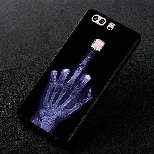 Funda Huawei P9, FUBAODA [Flor rosa] caja del teléfono elegancia contemporánea que la manera 3D de diseño creativo de cuerpo completo protector Diseño Mate TPU cubierta del caucho de silicona suave pa pic: 11