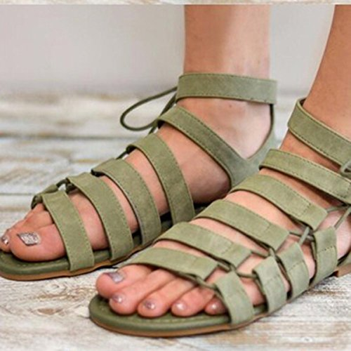 Bluelover Femme Sandales Côté Cravate Romaine Gladiateur Set Foot Casual Beach Flat - Gris - 42 Gris Tu3b4a8npm