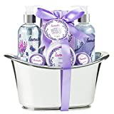 Bath Gift Set for Women Lavender Aromatherapy Spa Relaxing Basket With Bath Bombs Skincare Lotions, Bath Salts, Bubble Bath, Shower Gel Christmas Gift for Her, Wife, Mom, Girlfriend